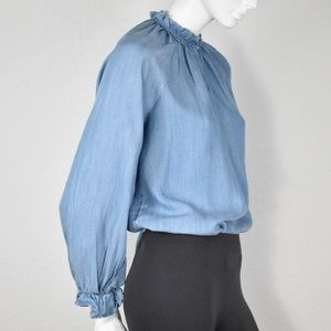 NWT Who What Wear Chambray Ruffled Blouse XS